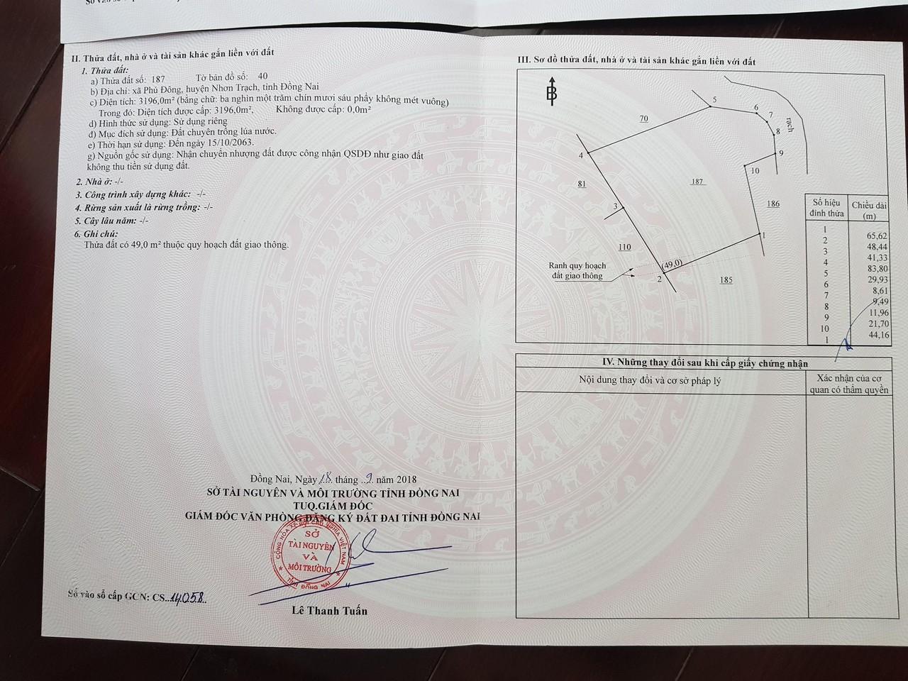 9.546 m2 đất CLN + Lúa mặt tiền sông xã Phú Đông – Giá: 1.3 triệu/m2!