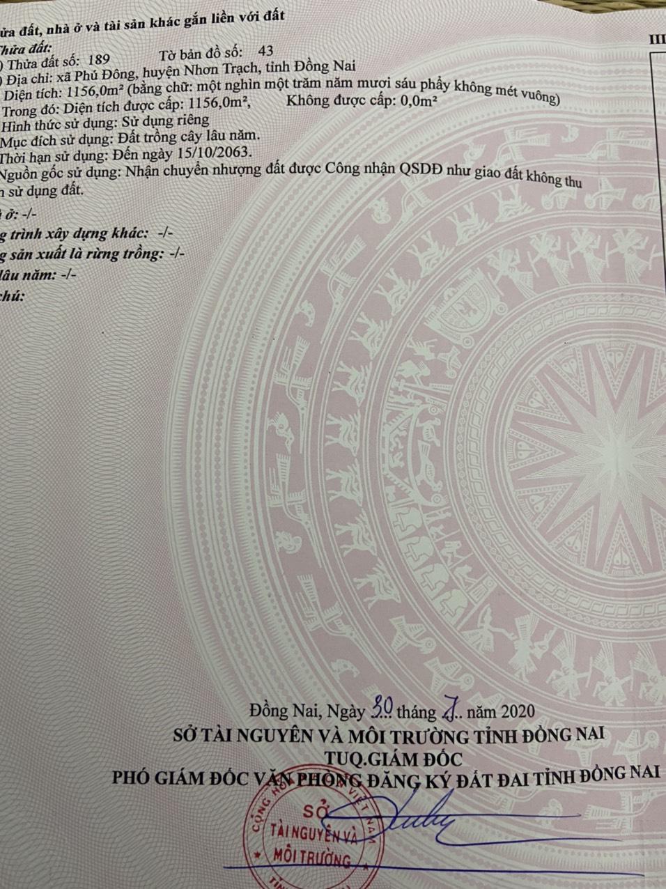 1.156 m2 đất CLN xã Phú Đông – Giá: 1.2 triệu/m2!