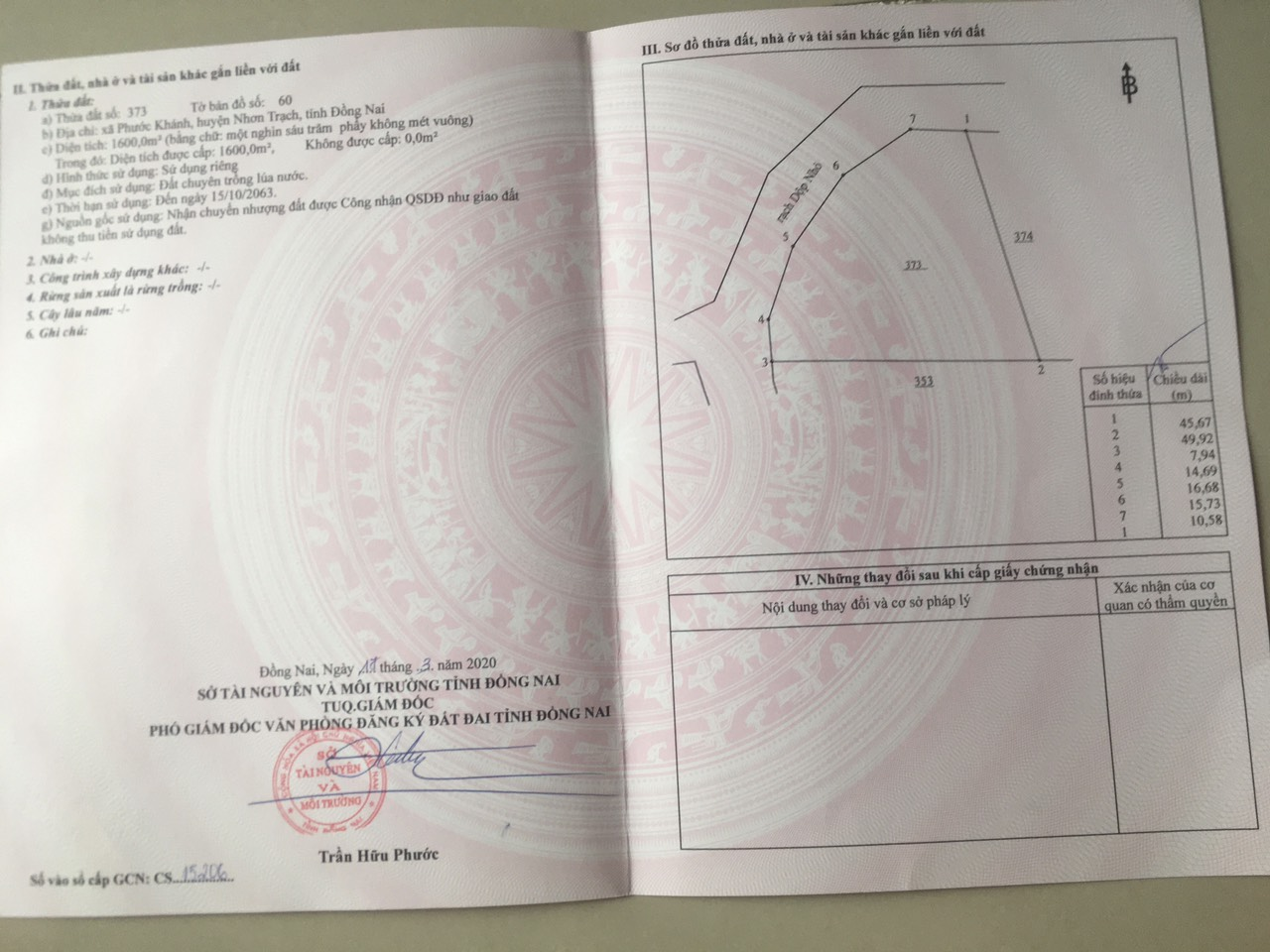 Đất lúa 1.600 MT rạch xã Phước Khánh – Giá 900 nghìn/m2!