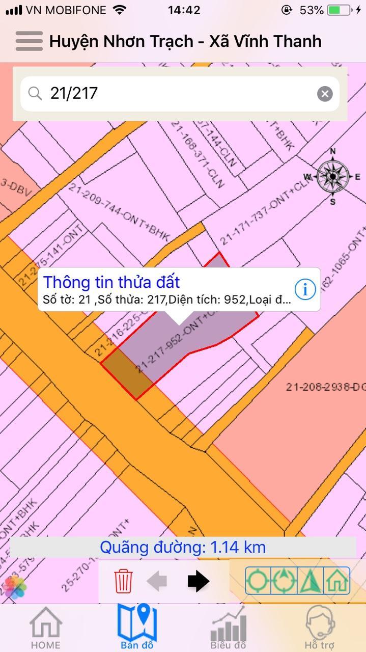 Bán 952 m2 MT đường Hùng Vương xã Vĩnh Thanh – 16.5 tỷ toàn bộ!