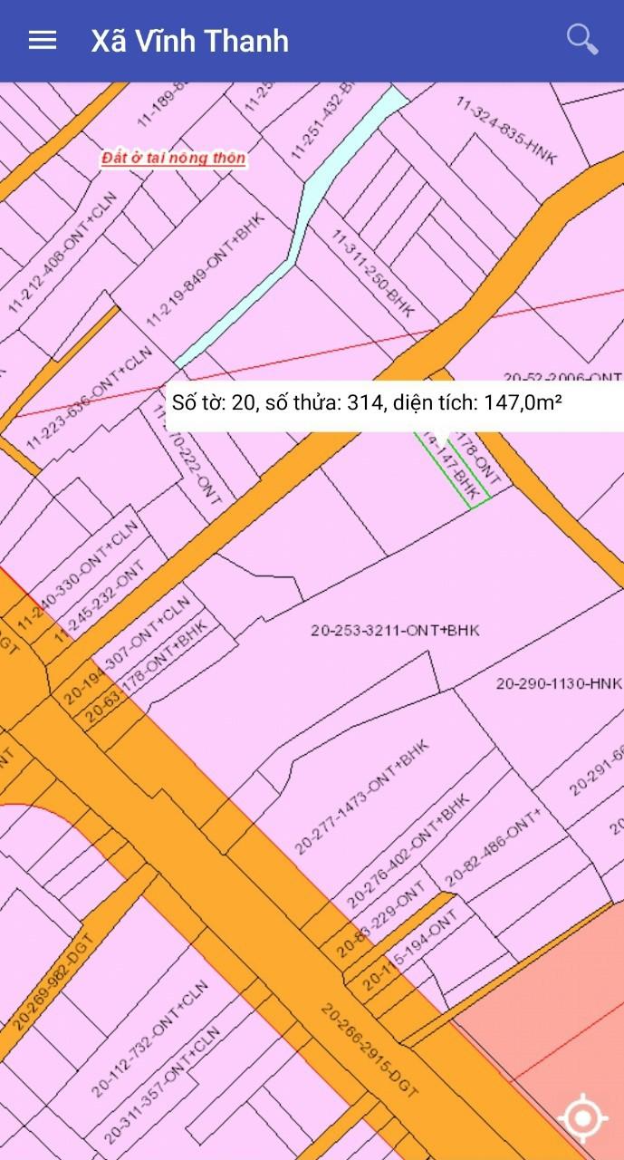 Bán 5 x 29 = 147 m2 hẻm ô tô 1 sẹc xã Vĩnh Thanh