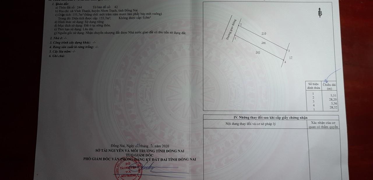 Nền 155.7 m2 thổ cư toàn bộ xã Vĩnh Thanh – 1.45 tỷ trọn sổ!