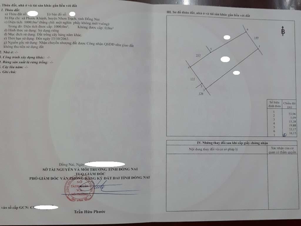 Bán 1.000 m2 đất CLN đường ô tô xã Phước Khánh – Giá 1.85 triệu/m2!