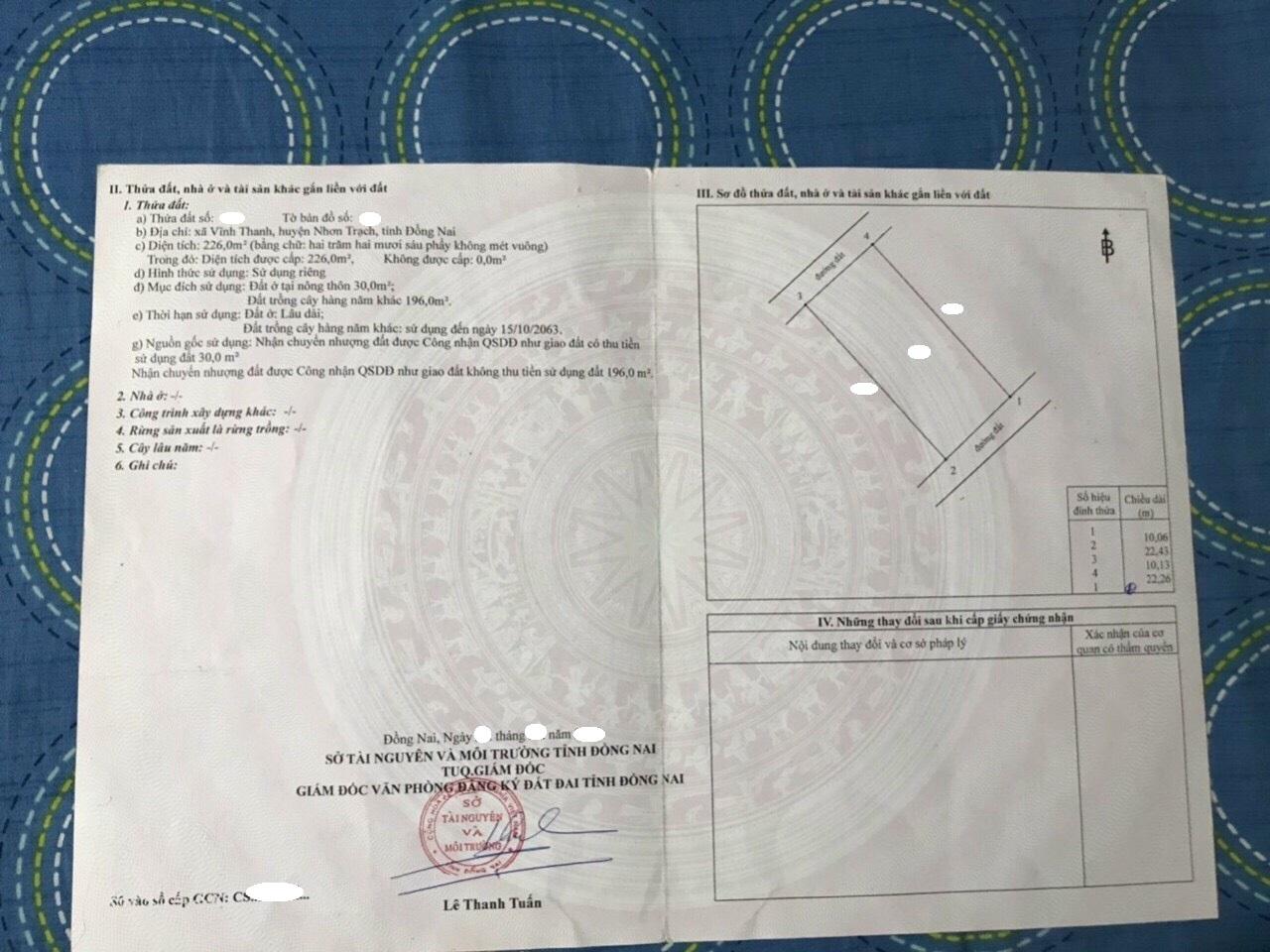 10 x 22.43 hai MT hẻm 1 sẹc xã Vĩnh Thanh – Giá: 2.71 tỷ!