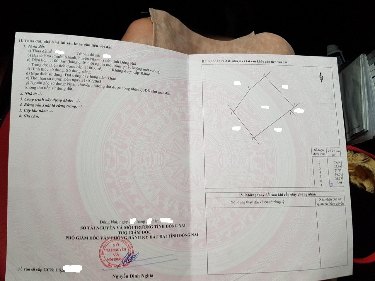 1.100 m2 đất BHK xã Phước Khánh giá 1.43 tỷ!