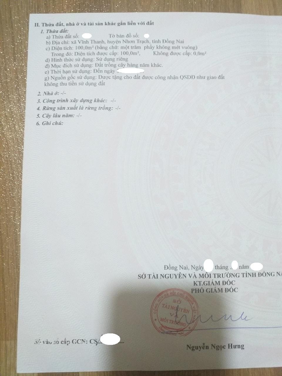 100 m2 thổ cư toàn hộ hẻm ô tô xã Vĩnh Thanh – Giá: 1.45 tỷ!