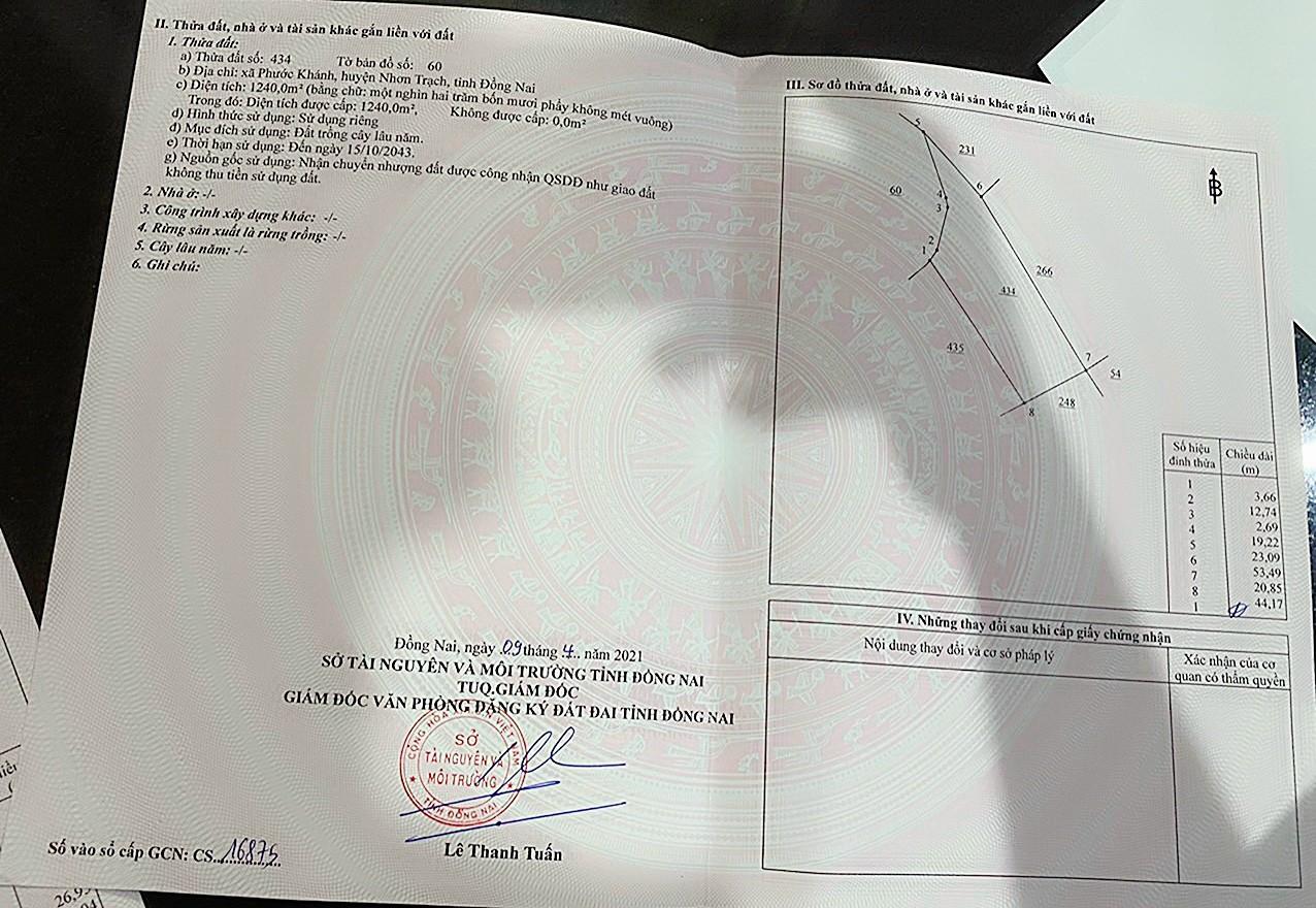 Bán 1.000 m2 xã Phước Khánh – Giá: 950 nghìn/m2