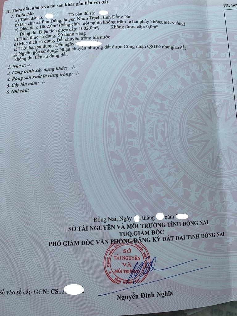 Cần tiền bán gấp 1.002 m2 đất lúa xã Phú Đông giá 1.65 tỷ