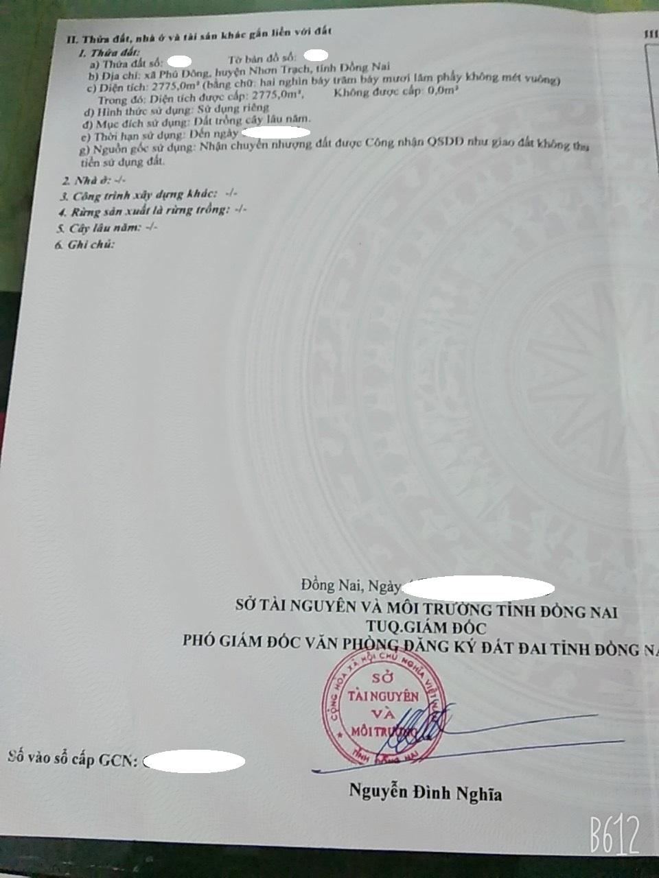 2.775 m2 đất CLN xã Phú Đông chỉ 1.2 triệu/m2!