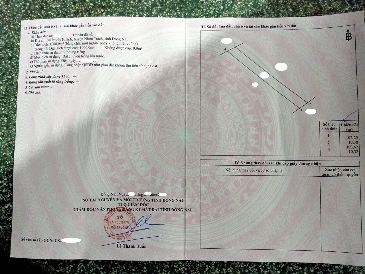 Cần bán 1.000 m2 đất Lúa xã Phước Khánh chỉ 650 triệu!