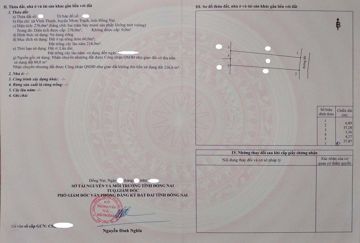 276 m2 hẻm ô tô 1 sẹc xã Vĩnh Thanh – Giá 2.8 tỷ!
